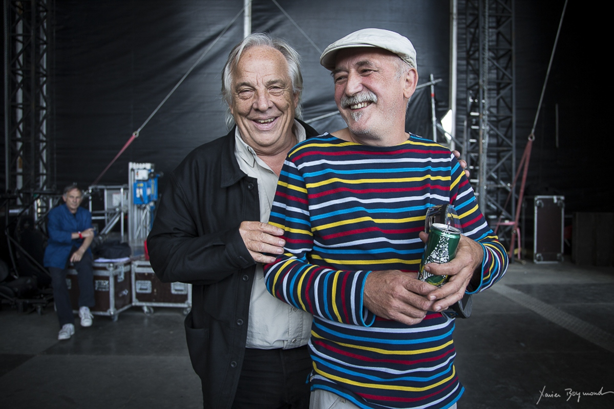 Daniel Mermet et André Minvielle à la fête de l'Huma en 2014