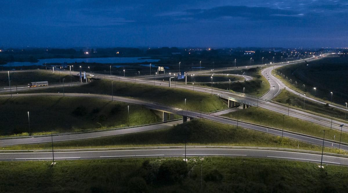 Reportage éclairage autoroutier à Calais - Client : Fonroche